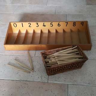 Montessori Spindle Box with 45 Spindles - preschool children maths educational material