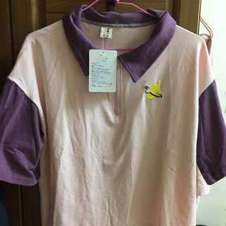 可愛粉紫色刺繡學院風上衣 全新僅試穿