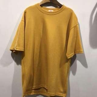 黃/重磅短袖T-shirt/韓國服飾/韓版/彈性T-shirt