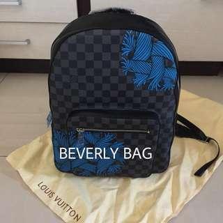 jual tas LV Backpack Blue Pattern LEATHER MIRROR - damier black