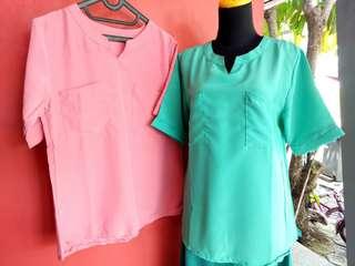 Blouse pink n hijau