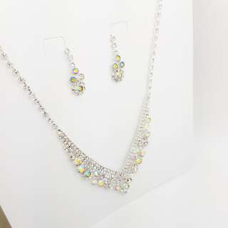 Elegant Party Necklace and Earrings White Crystal AB