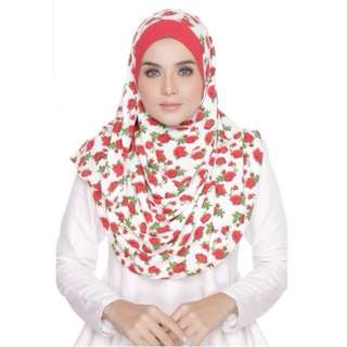 ZAHRA DOUBLE LOOP INSTANT SHAWL FLOWER RED