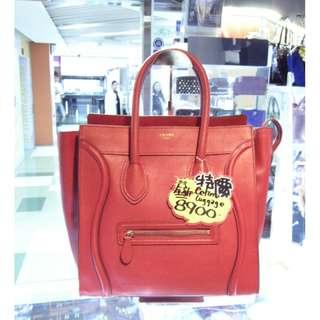 Celine Red Leather Classic Mini Luggage Shoulder Hand Bag 塞利 紅色 牛皮 皮革 經典款 笑面包 笑臉包 手挽袋 手袋 肩袋 袋