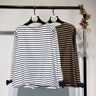Foreign trade women's lace long-sleeved striped halter T-shirt round collar wild shirt