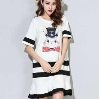 💋Pearl Rabbit Two-tone Dress
