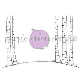 Purple Onion Birch Tree Background Unmounted Rubber Stamp