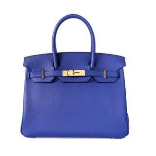 Hermes Birkin手袋 30cm 7T電光藍 Togo