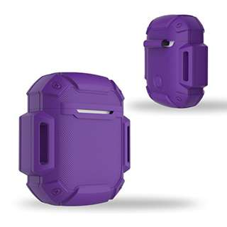 Shock Resistant Case Protective Silicone Cover Running Design with Hard Sleeve and Keychain for Charging Apple AirPods (Purple)