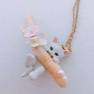 全新 小白貓頸飾