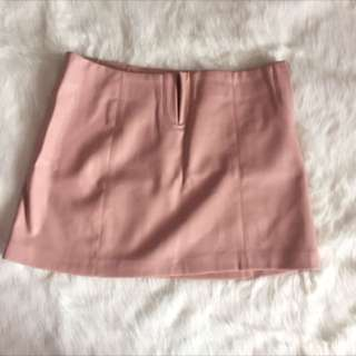 Pink Faux leather skirt zara
