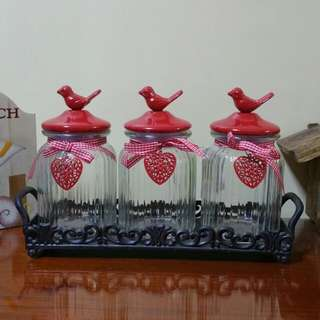 Metal Birds Glass Canister Set with Cast iron Tray