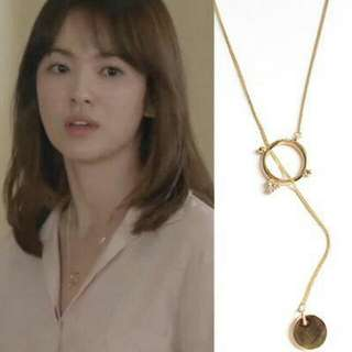 Ring And Coin 18k Gold Plated Necklace