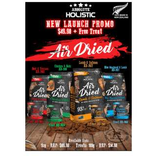 Absolute Holistic Air Dried dog food NEW LAUNCH PROMO !!