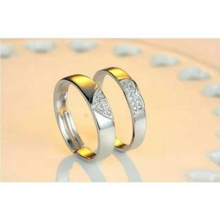 Connecting Half Heart Couple Ring