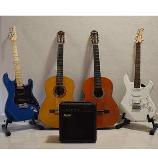 GREAT ALL IN ONE DEAL!!!!!!!!!!  TWO ELECTRIC AND TWO CLASSICAL, AMP INCLUDED