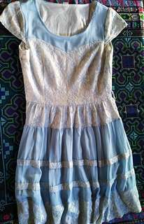 White with blue dress