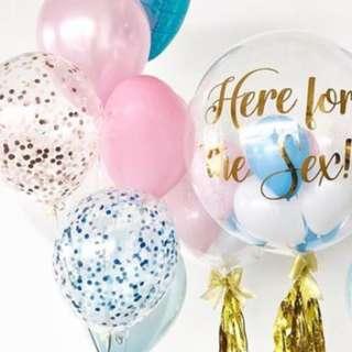 Helium Balloons - 12 Inch Confetti Ice Blue Balloon
