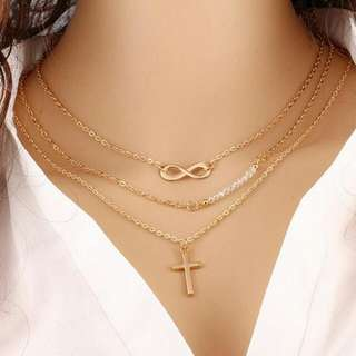 3 Layered Infinity Beads Cross Necklace