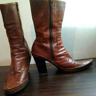Nine West Calf-High Leather Boots