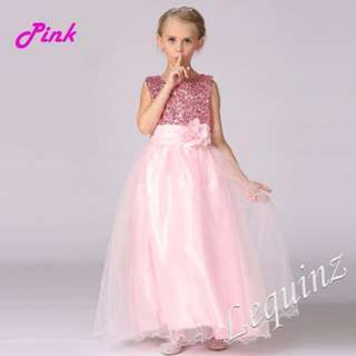 Pink Shimmer Long Gown Wedding Flower Girls Dress Birthday Gifts ^^