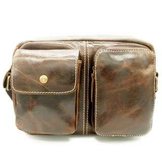 The Ninja Co. Sling Bag Top Grain Leather Shoulder Crossbody Bag Office Work School Handbag Business Corporate Gifts Men Women Birthday NB 8801