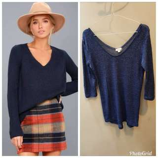 Xanana Outfitters Vneck Knitted - navy