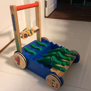 Melissa and Doug Chomp and Clack Alligator Wooden Push Toy and Activity Walker
