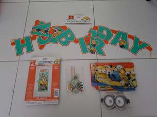 Despicable ME Happy Birthday Party Banner Door Poster Table Cloth Mask Cupcake Sticks