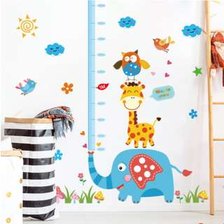 Cartoon Animals Height Measurement Kids Growth Chart Wall Decal