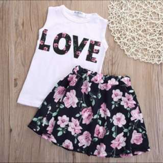 LOVE Top + Floral Skirt