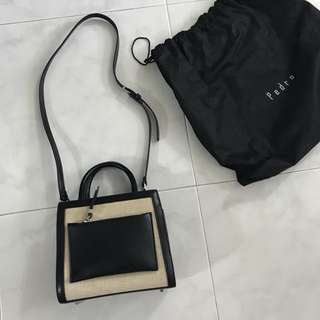 Pedro Black Top Handle Bag With Linen Accent