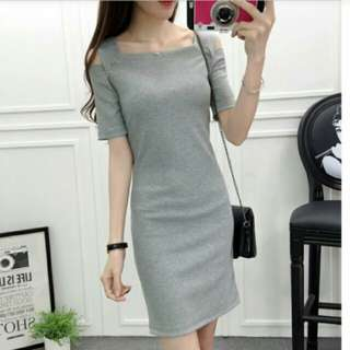 Korean Grey Cold Shoulder Dress Off Shoulder Dress