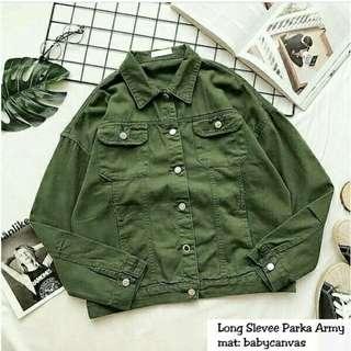 Jaket long slevee parka army