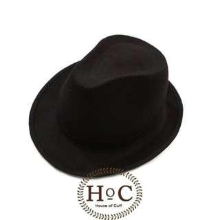 Houseofcuff Topi Fedora Hat  BLACK FEDORA HAT LAKEN
