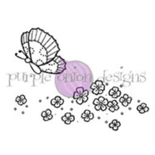 Purple Onion Scattered Flowers and Hush Unmounted Rubber Stamp