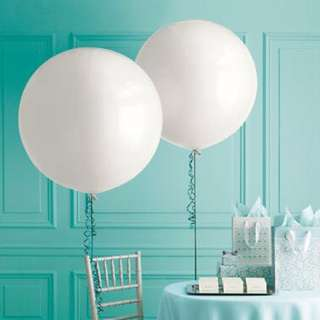 Giant white round Helium Balloons for weddings and parties 36 inch