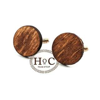 Houseofcuff Cufflinks Manset Kancing Kemeja French Cuff CIRCLE WOOD DARK CUFFLINKS