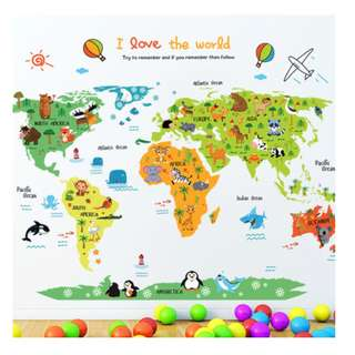 Cartoon  Kids World Map Decal