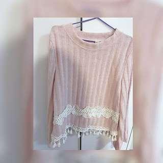 軟妹 斯文 粉紅 薄針織 流蘇 修身上衣