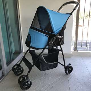 Pet stroller /pet pram foldable back wheel block
