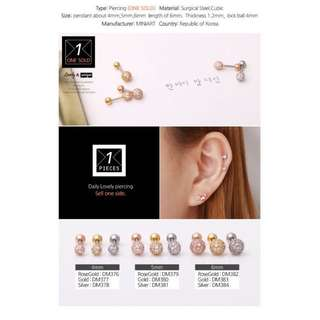Surgical steel earring gold helix conch