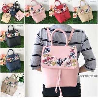 Bella embroidered bag pack