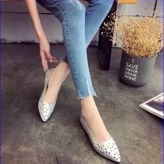 PO -  Korean Styled Pointed Hollow Flat Shoes in Silver - Size 34 to 40