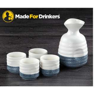 Sake Flask and cups Gift Set - 1 Flask with 4 cups