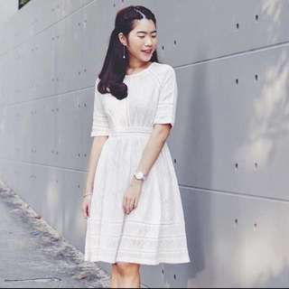BNWT White Sleeved Lace Dress