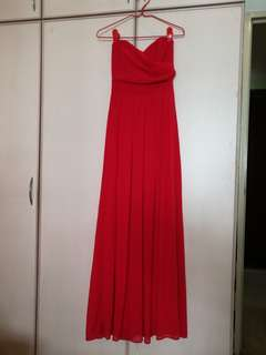 TFNC red maxi strapless dress