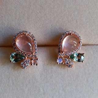 純銀鍍18k玫瑰金粉紅晶碧茜耳環