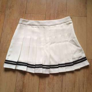 TENNIS SKIRT WHITE BLACK STRIPE