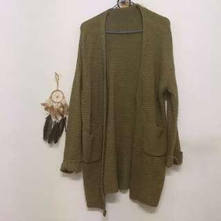 🚚 墨綠針織外套罩衫大衣